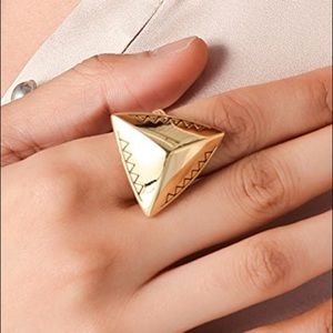 House of Harlow Engraved Pyramid Cocktail Ring